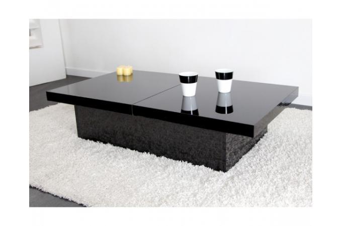 Table basse noire 2 plateaux coulissants triange table - Quoi mettre sur une table basse ...