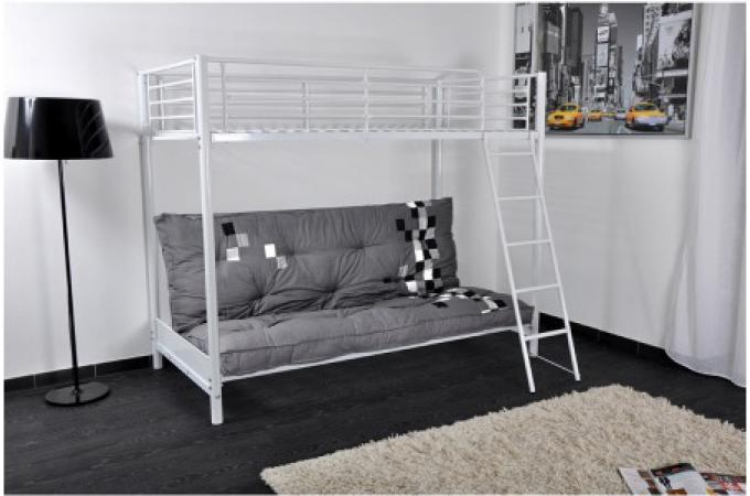 lit mezzanine blanc 90x190 avec canap clic clac lust lit design pas cher. Black Bedroom Furniture Sets. Home Design Ideas