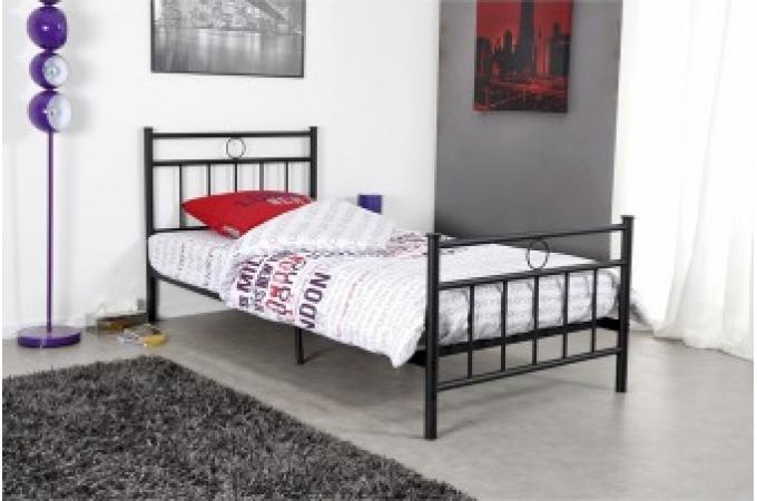 lit 1 personne en acier noir avec sommier grille 90x190 marise lit design pas cher. Black Bedroom Furniture Sets. Home Design Ideas