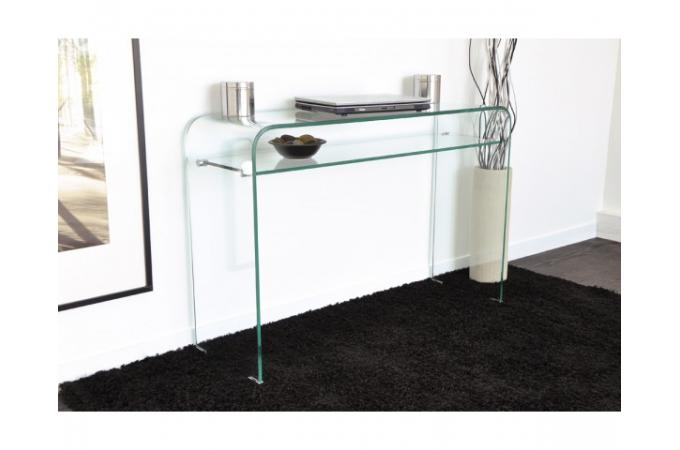 Console design en verre transparent 1 tag re otta for Meuble bureau en verre
