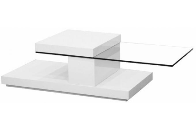 Table basse blanc laqu avec plateau pivotant rota table - Table basse blanc laquee pas cher ...