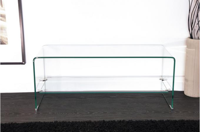 Meuble tv 1 tag re en verre transparent courb otta for Meuble tv en verre transparent