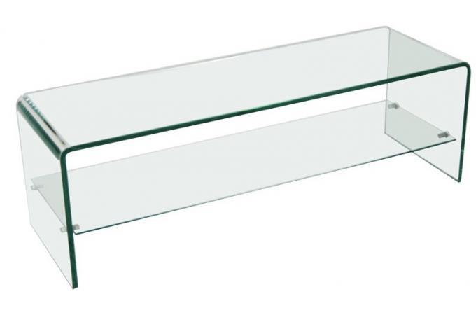 meuble tv 1 tag re en verre transparent courb otta meuble tv pas cher. Black Bedroom Furniture Sets. Home Design Ideas