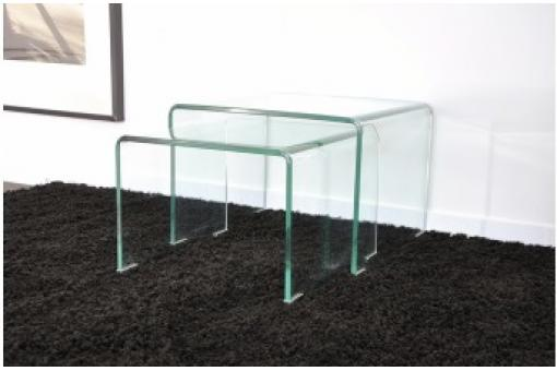 2 tables basses gigognes en verre transparent OTTA