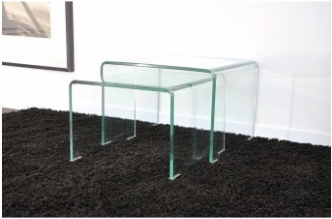 2 tables basses gigognes en verre transparent otta table. Black Bedroom Furniture Sets. Home Design Ideas