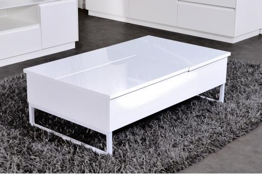 Table basse blanc laqu 2 plateaux relevables prato - Table basse blanc laquee pas cher ...