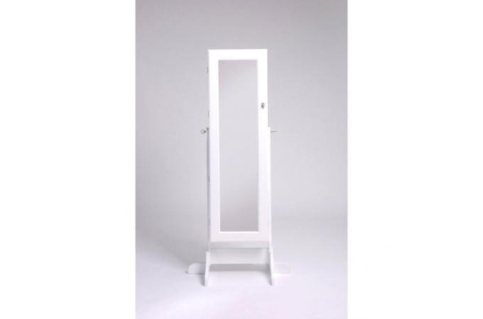 Miroir sur pied avec coffre de rangement blanc cendrillon for Miroir sur pied blanc