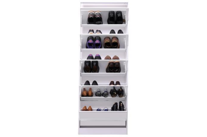 Meuble chaussures blanc avec miroir nodus meuble de - Meuble chaussure avec miroir ...