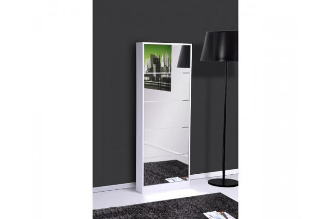Meuble chaussures blanc avec miroir nodus meuble de rangement pas cher - Meuble chaussure avec miroir ...