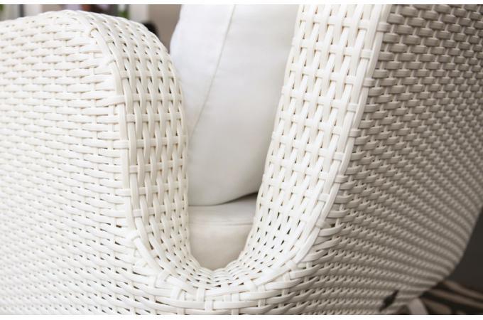 Salon de jardin blanc en r sine tress e amantine salon for Salon de jardin resine tressee blanc