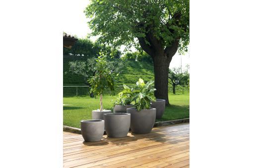 Pot de fleurs gris dolor s deco jardin pas cher for Pot jardin gris