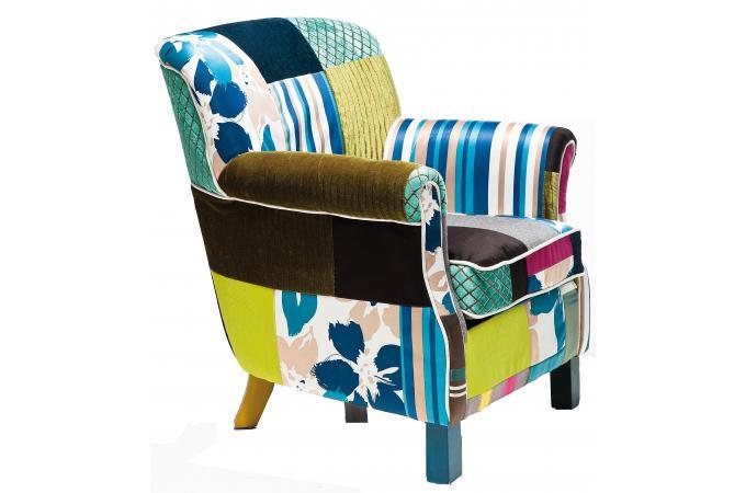 Fauteuil r tro kare design patchwork fauteuil design pas cher - Fauteuil jaune pas cher ...
