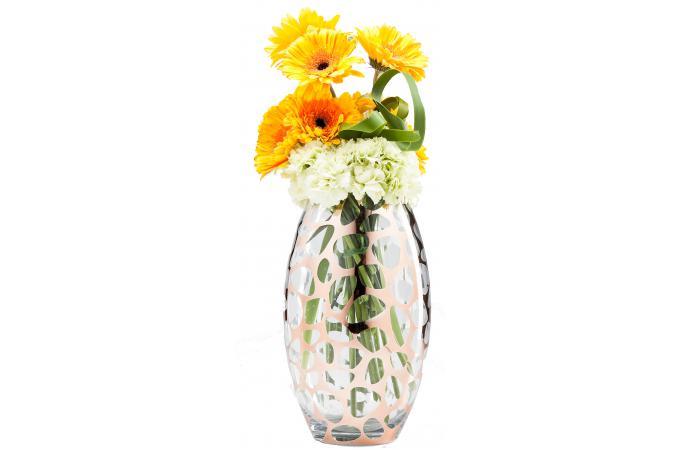 vase ovale transparent or rose vase pas cher. Black Bedroom Furniture Sets. Home Design Ideas