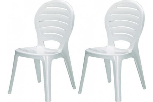 Pack de 2 chaisesde jardin empilables blanches en polymeric Kamara