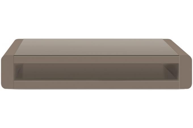 Table basse taupe plaqu e bois avec plateau en verre willy - Table basse industrielle pas cher ...