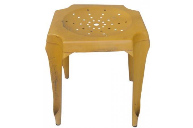 tabouret bas jaune en acier faith petit tabouret pas cher. Black Bedroom Furniture Sets. Home Design Ideas