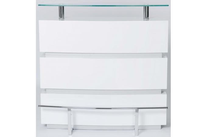 comptoir bar blanc en verre genny table de bar pas cher. Black Bedroom Furniture Sets. Home Design Ideas