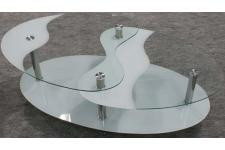 Table basse blanche en verre Germina - Table design