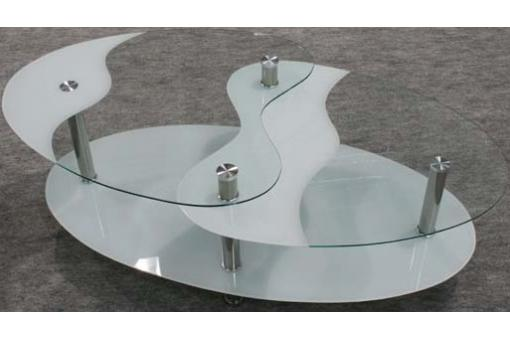 Table basse blanche en verre Germina