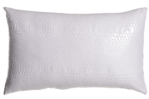 Coussin rectangulaire blanc en polyester Joan