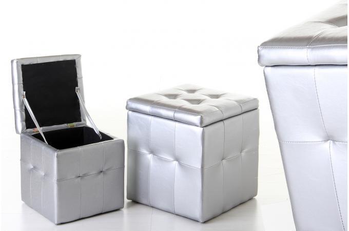 Lot de 2 Pouf Coffre Argent Similicuir - Pouf Design & Pouf Géant ...