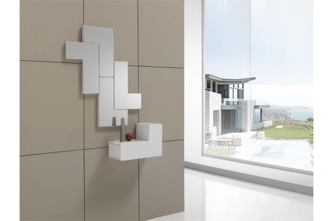 d coration murale modulable blanche tetris miroir