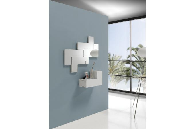d coration murale modulable blanche tetris miroir rectangulaire pas cher. Black Bedroom Furniture Sets. Home Design Ideas