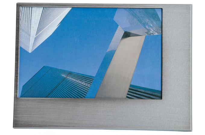 cadre photo gris en acier sandra 25 x 20 cm cadre photo pas cher. Black Bedroom Furniture Sets. Home Design Ideas