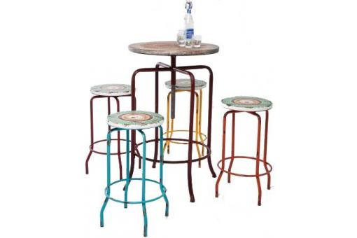ensemble bar multicolore en bois renata table de bar pas cher. Black Bedroom Furniture Sets. Home Design Ideas