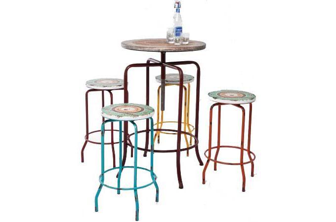 ensemble bar multicolore en bois renata table de bar pas. Black Bedroom Furniture Sets. Home Design Ideas