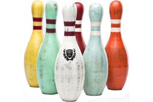 Quilles de bowling multicolores en bois r jane statue for Decoration quille de bowling