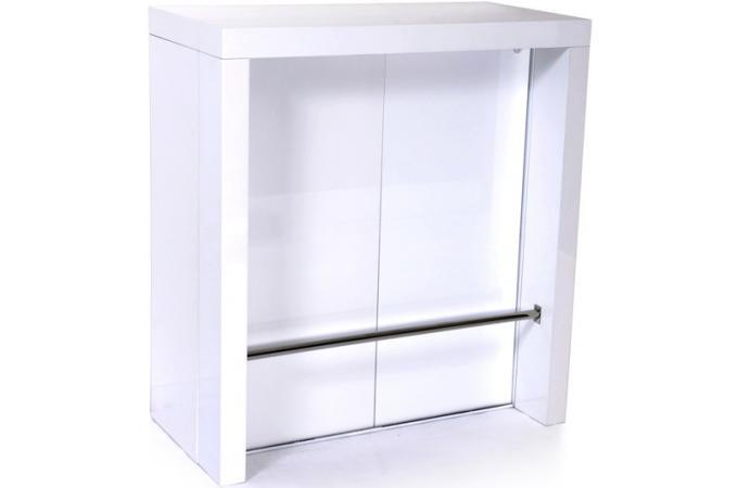 Meuble laqu avec 2 allonges int gr es barre de pi tement chrom e blanc ta - Produit meuble laque ...