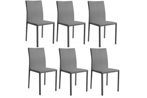 Lot de 6 chaises empilables grises chaise design pas cher - Chaises empilables design ...
