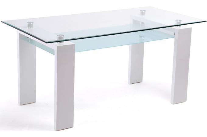 table rectangulaire plateau en verre blanche table manger pas cher. Black Bedroom Furniture Sets. Home Design Ideas