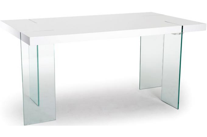 Table s jour rectangulaire pieds verre transparent et - Table sejour verre ...