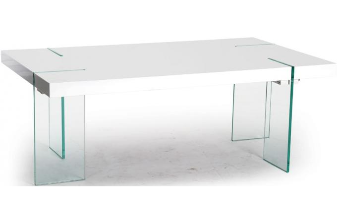 Table basse rectangulaire pieds verre transparent plateau blanc laqu table - Table basse rectangulaire blanc laque ...