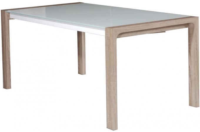 Table extensible laqu e blanc avec plateau verre tremp for Table extensible verre trempe
