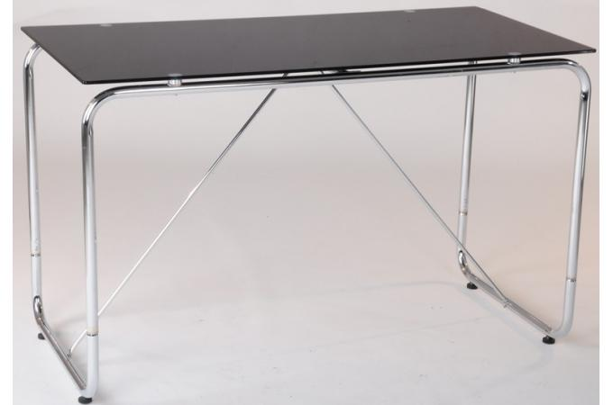 Bureau chrom avec plateau verre tremp teint noir - Plateau verre trempe bureau ...