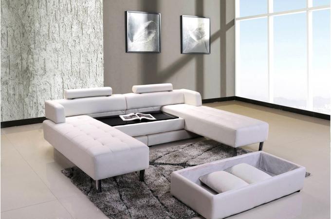 ensemble canap d 39 angle r versible et pouf blanc en cuir de synderme canap d 39 angle pas cher. Black Bedroom Furniture Sets. Home Design Ideas