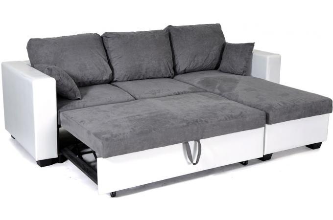 canap angle convertible r versible imitation cuir blanc microfibre grise canap convertible. Black Bedroom Furniture Sets. Home Design Ideas