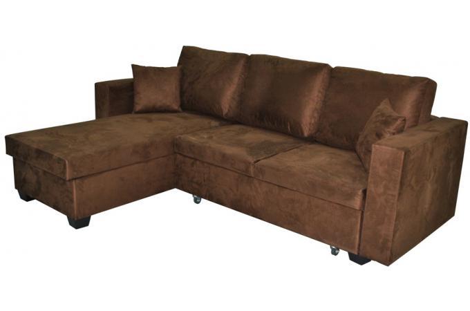 canap d 39 angle r versible et convertible microfibre chocolat canap convertible pas cher. Black Bedroom Furniture Sets. Home Design Ideas