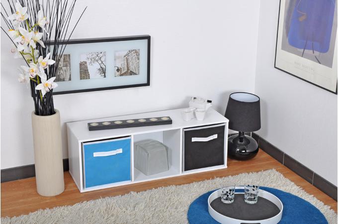Rangement 3 cases blanc meuble de rangement pas cher for Meuble 6 cases blanc