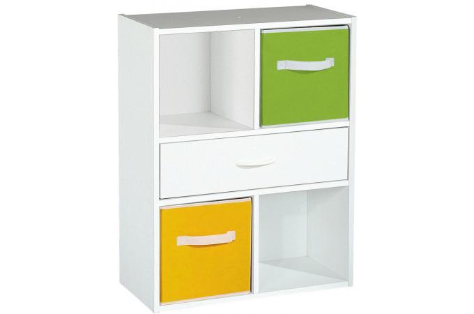 Rangement 4 cases 1 tiroir blanc meuble de rangement for Meuble 9 cases blanc