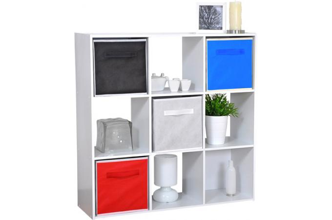 rangement blanc 9 cases carmelo meuble de rangement pas cher. Black Bedroom Furniture Sets. Home Design Ideas