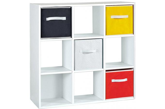 rangement blanc 9 cases carmelo meuble de rangement pas cher. Black Bedroom Furniture Sets. Home Design Ideas