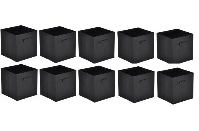 lot de 10 paniers tiroir tissu noir bac de rangement pas. Black Bedroom Furniture Sets. Home Design Ideas