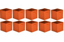 Lot de 10 Paniers Tiroir Tissu Orange