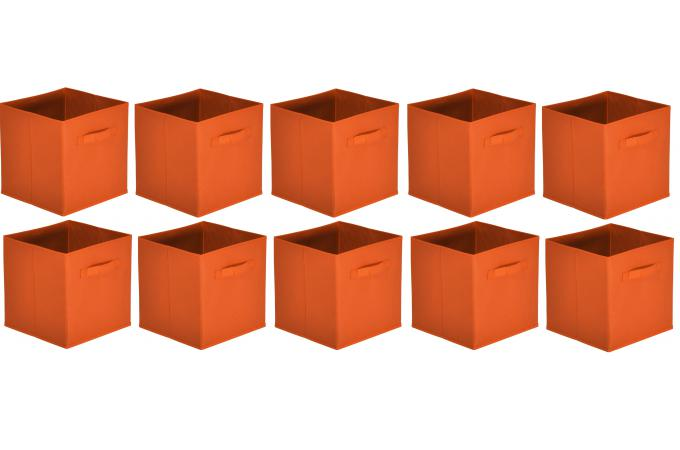lot de 10 paniers tiroir tissu orange bac de rangement. Black Bedroom Furniture Sets. Home Design Ideas