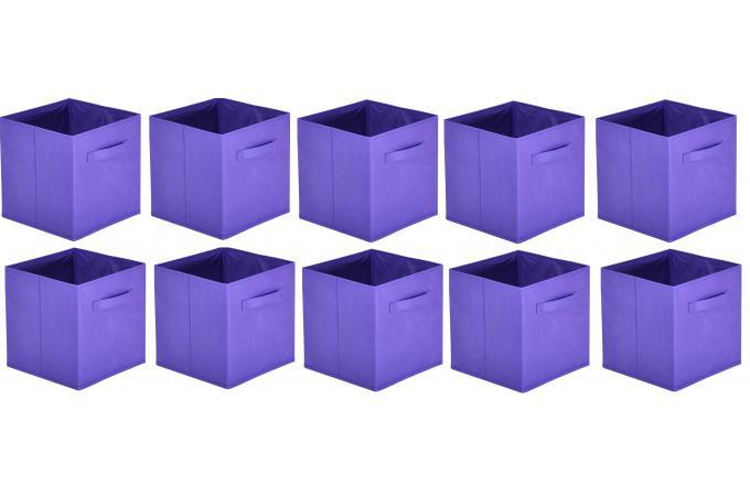 lot de 10 paniers tiroir tissu violet bac de rangement pas cher. Black Bedroom Furniture Sets. Home Design Ideas