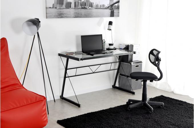 bureau verre s rigraphi noire bureau pas cher. Black Bedroom Furniture Sets. Home Design Ideas